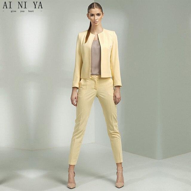4052cefb2 Chaqueta Pantalones amarillo mujeres negocios Trajes Oficina uniforme  diseños mujer traje femenino del desgaste del trabajo