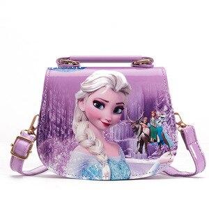Disney princess children pu messenger bag girl Frozen Elsa shoulder bag Sofia handbag kid fashion shopping bag gift(China)