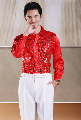 Men's Glittering Sequined  Shirt Stage Performance Clothing Dance Gala Hosted Chorus Shirts Chorus Performance Uniform Shirt