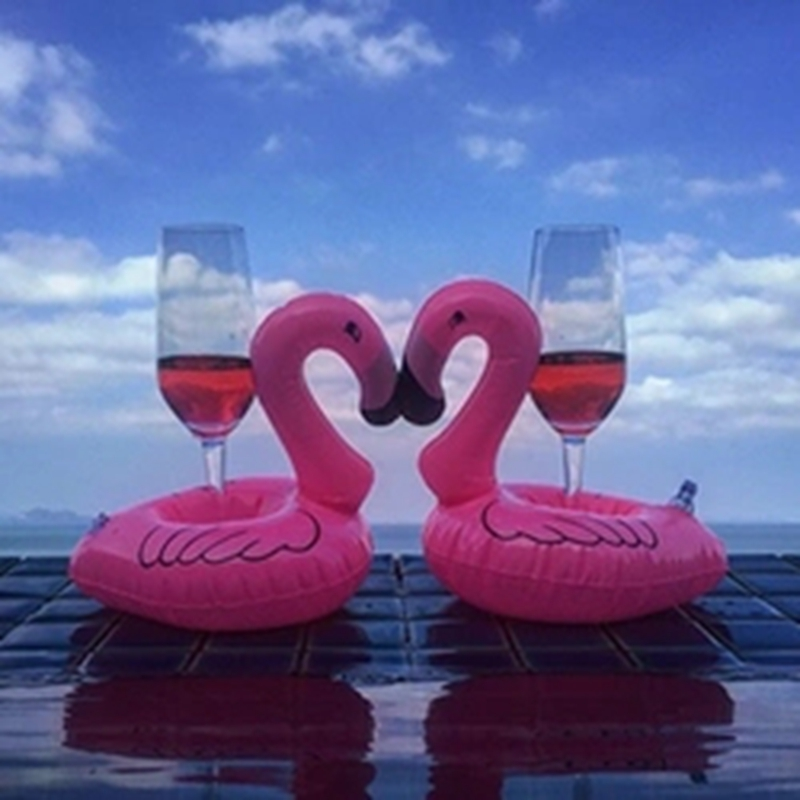 30Pcs/Lot Cute Pink Flamingo Floating Inflatable Drink Can Holder Pool Bath Toy Pool Swim Ring Water Fun Pool Toys