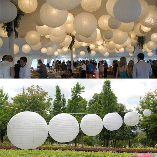 1 Piece White Chinese Paper Lanterns For Party And Wedding