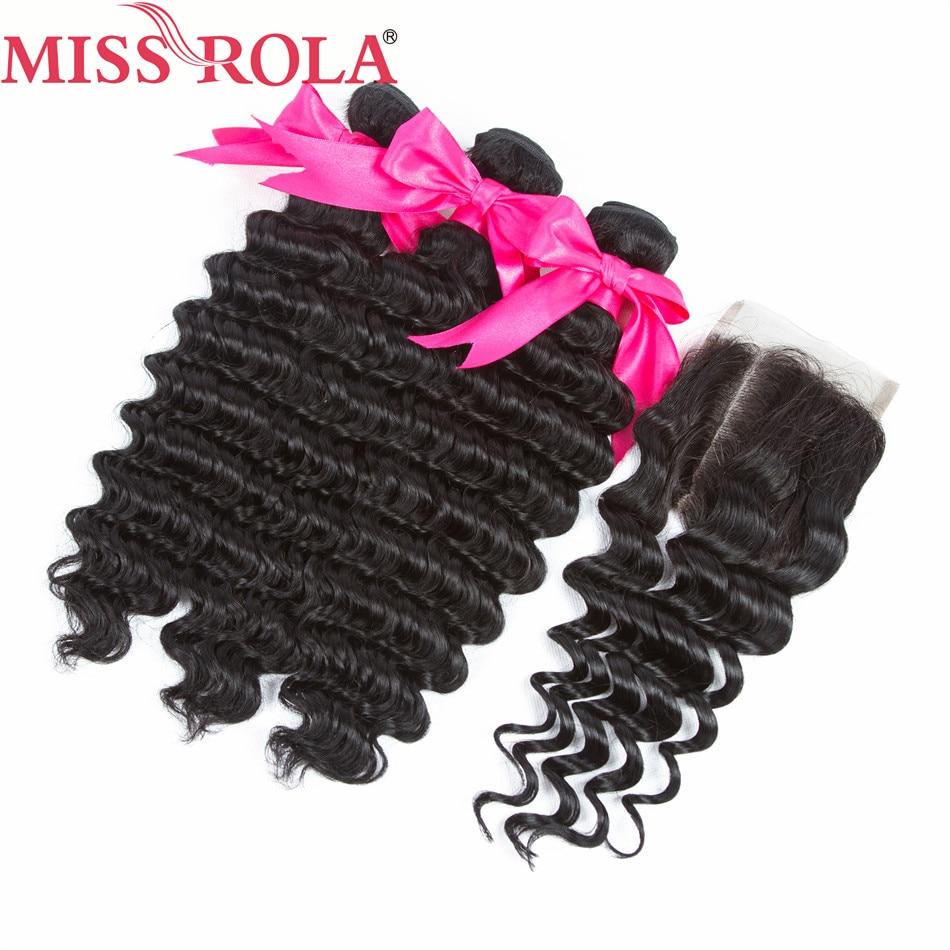 Hair Closure Deep-Wave Natural-Color Miss-Rola 3-Bundles Malaysian Hair-Extensions 100%Human-Hair