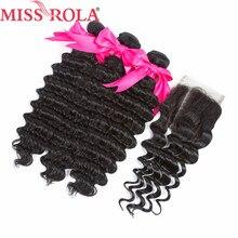 Miss Rola Hair Malaysia Deep Wave 3 Bundles Dengan Penutupan Warna Asli 100% Rambut Manusia 8-26 Inci Sambungan Rambut Non-Remy