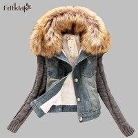 S 5XL Plus Size New Winter Women Fashion Denim Jacket Movable Furs Collar Wool Coat Bomber Jacket Jean Women Basic Coats E0597