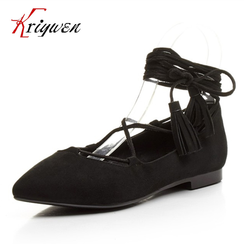 2017 Spring high quality women cross tied kid sued flats pointed toe woman woman solid black gray comfortable shoes size 33-43 new 2017 spring summer women shoes pointed toe high quality brand fashion womens flats ladies plus size 41 sweet flock t179