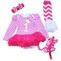 4 Unids por Juego Hot Pink Baby Girl primera Fiesta de Cumpleaños Del Vestido Del Tutú Infantil Traje de Rayas Calentadores de La Pierna de Zapatos de La Venda