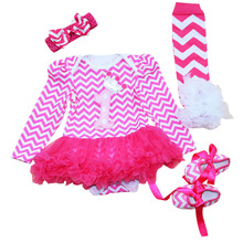 4PCs per Set Hot Pink Baby Girl Striped Tutu Dress Infant 1st Birthday Party Outfit Leg Warmers Shoes Headband