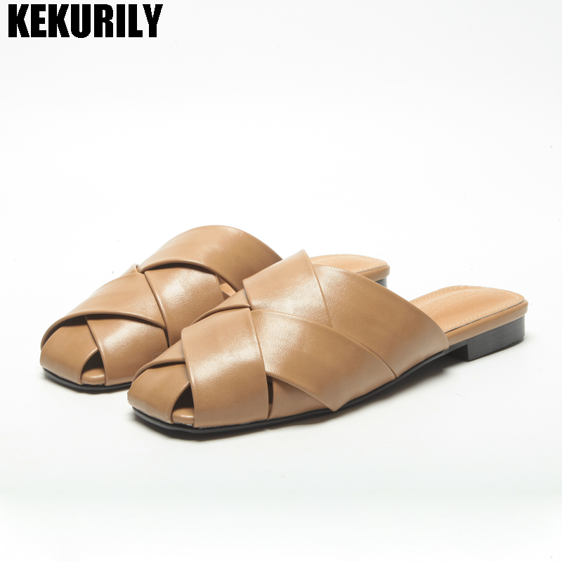 Shoes Woman cross band Slides Slippers low heels Mule hollow out square toe Sandals loafers zapatos mujer Black White brown