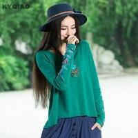 Kyqiao Мексика стиль Этническая темно-цвета: зеленый, черный Orange Длинные рукава Вышивка асимметричный блузка рубашка 2017 женские блузки Blusa