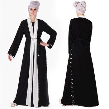299e32dbb611576 Мусульманский жемчуг специальный черный Nida Арабский мусульманский  кардиган Абаи полной длины Кафтан Дубай мусульманин турецкий модная му.