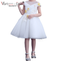 VARBOO_ELSA Little Princess White Prom Dresses Beaded Appliques Flower Girl Dress 2018 Tulle Girl Party Gown vestido de daminha