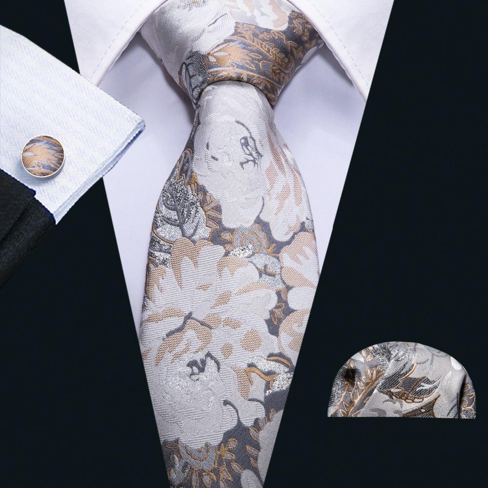2018 Europäischen Stil Retro Malerei Khaki Floral 100% Seide Männer Krawatte Barry. Wang 8,5 Cm Woven Business Party Krawatte Männer Geschenk Fa-5072