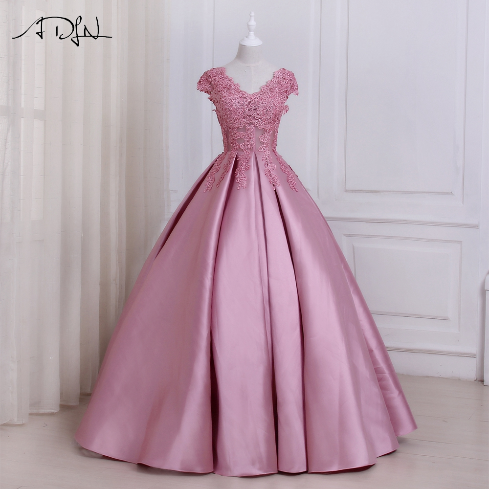 ADLN Pink Evening Dresses Cap Sleeve Applique Beaded Floor Length Party Formal Dress Customized Design
