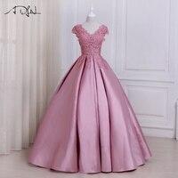ADLN 2017 Pink Evening Dresses Cap Sleeve Applique Beaded Floor Length Party Formal Dress Customized Design