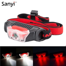 MINI 4 โหมดกันน้ำ 1 * XPE สีขาว + 2 * LED สีแดงไฟฉายไฟหน้าไฟหน้าไฟฉาย Lanterna พร้อมแถบคาดศีรษะใช้ AA