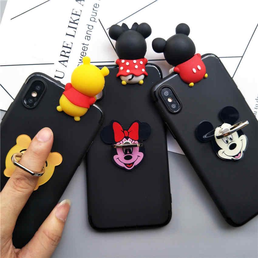 Lindo 3D Minnie Bear dibujos animados soporte suave funda de teléfono para Samsung Galaxy S10 Plus S7 S6 Edge S8 S9 plus Nota 8 9 10 Pro
