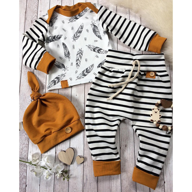2018 High Quality Newborn Baby Boy Girl Feather T shirt Tops Striped Pants Clothes Outfits Set Dropshipping Baby Clothes
