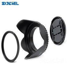 49 52 55 58 62 67 72 77MM UV Filter+front Lens Cap+Flower Lens Hood For Canon Nikon Sony Fuji Pentax YongNuo lenses