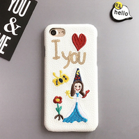 Fashion Cover Personality Embroidery Case For 7 Plus Hard Back Cover I Love You Girl Leather