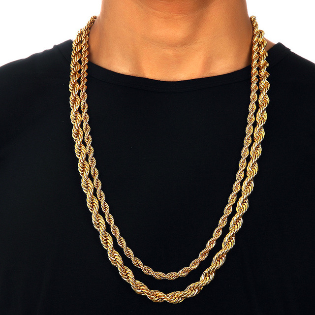 """Mens 6mm/9mm Thick 30"""" Long Solid Rope Chain Gold Color Twisted Long Heavy Dookie Necklace Young Jeezy Style Chain"""