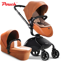 2 in 1 baby stroller with sleeping basket, rubber wheel high landscape baby carriage, fold baby pram with good shock absorption