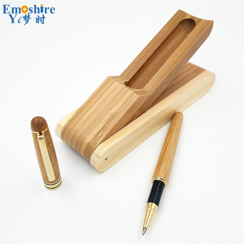 Wholesale Bamboo Roller Ball Pens and White Wooden Golden Clip Ballpoint Pen School Office Writing Supplies Stationery P180 black jinhao ballpoint pen and pen bag school office stationery brand roller ball pens men women business gift send a refill 013