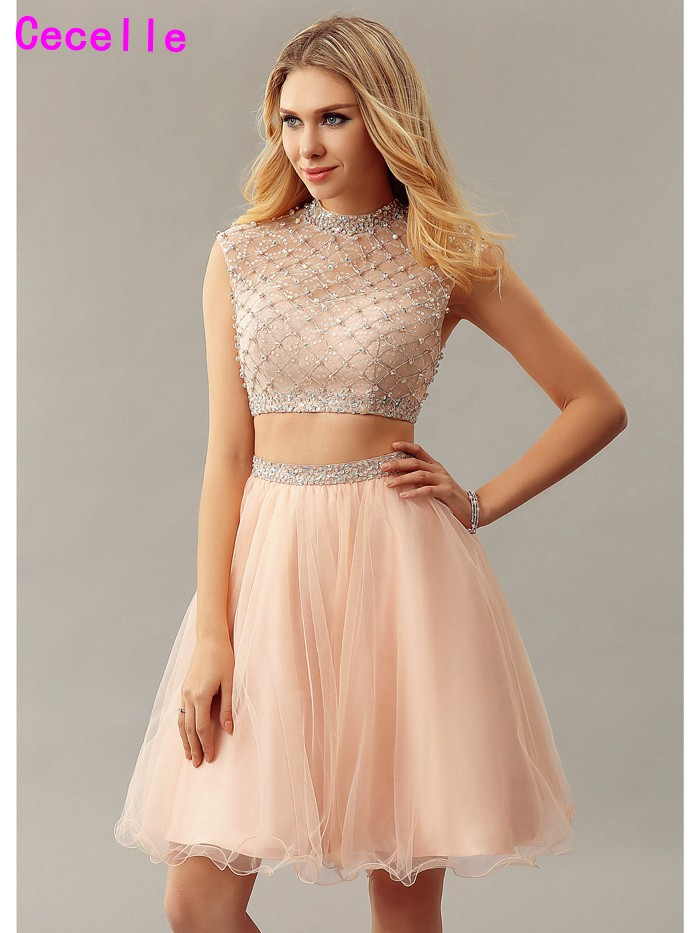Sparkly Two Pieces A-line   Cocktail     Dresses   For Teens High Neck Beaded Crystal Robe De   Cocktail   2019 Real   Cocktail   Party   Dress