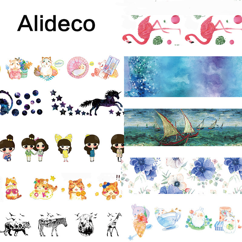 Alideco 1 Pcs Washi Masking Tapes Retro Malong Aniamls Decorative Adhesive Scrapbooking DIY Paper Japanese Stickers 10m