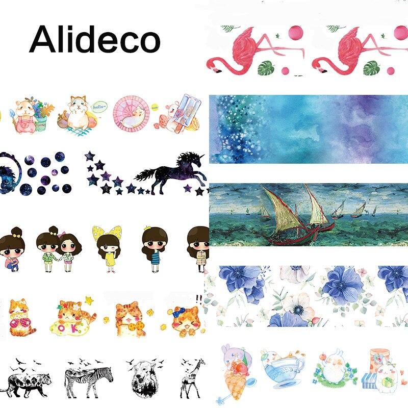 Alideco 1 Pcs Washi Masking Tapes Retro Malong Aniamls Decorative Adhesive Scrapbooking DIY Paper Japanese Stickers 10m