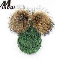 Minhui New Real Mink Fur Pompom Hat Women Winter Caps Knitted Wool Cotton Hat Two Pom