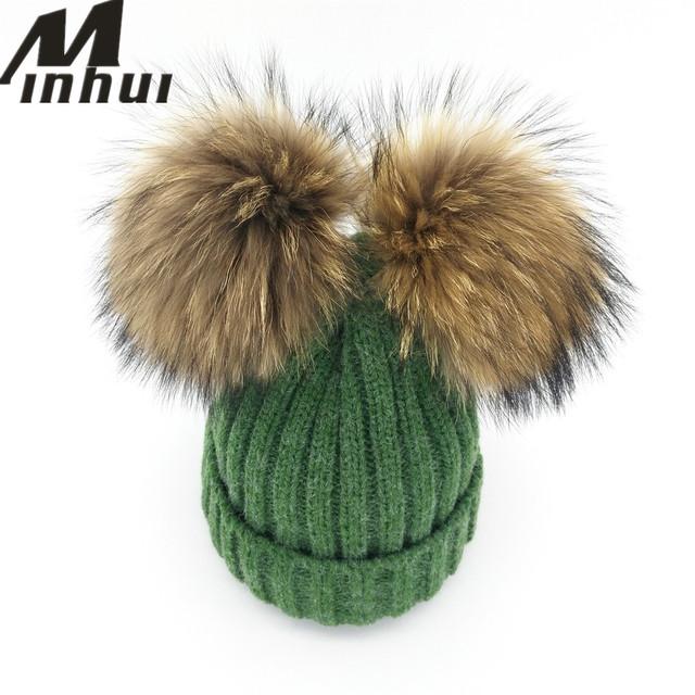 Minhui New Real Mink Fur Pompom Hat Mulheres Inverno Tampas de Malha lã Chapéu de Algodão Dois Poms do Pom Skullies Gorros Bonnet Cap Fêmea