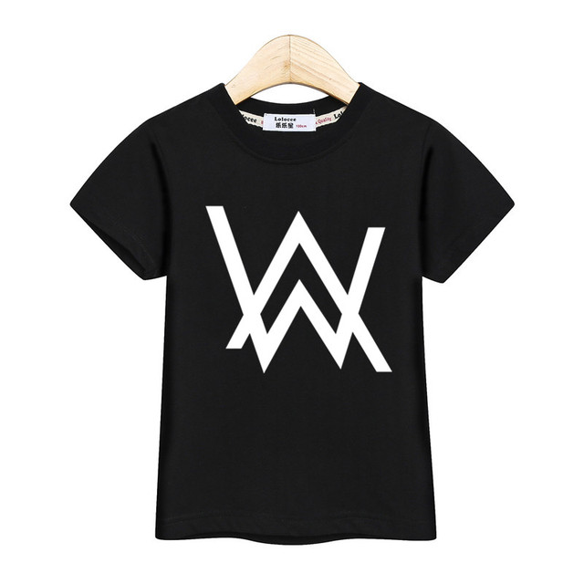 DJ maestro de música t camisa niños Alan Walker tops de moda niños AW imprimir camisetas teen ropa de algodón de manga corta chica vestidos de verano