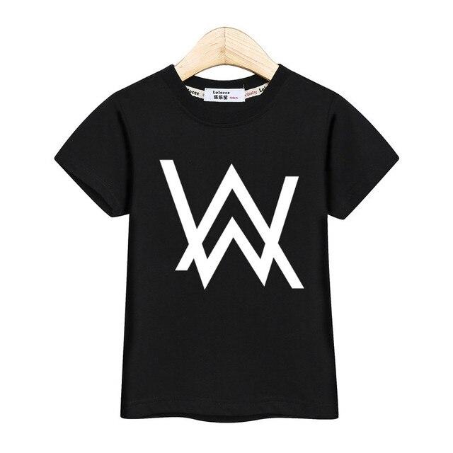 DJ music master t shirt kids Alan Walker fashion tops boys AW print tees teen short sleeve cotton clothes girl summer dresses