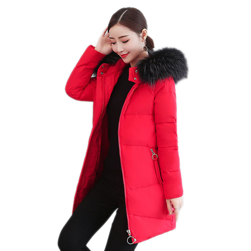 Winter Women Outerwear 2018 New Mid-Long Fur Collar Hooded Female   Down     Coat   Female Slim Thin Thick High Grade Lady Parkas Cw022