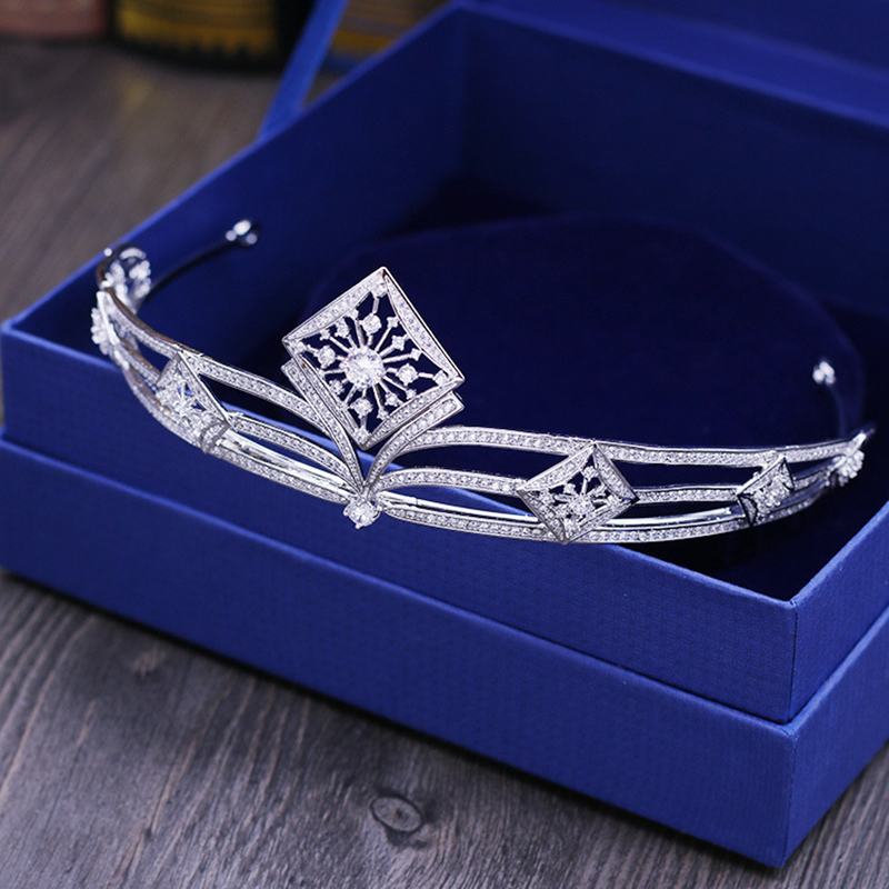 Himstory Full AAA CZ Tiaras Crowns Square Designs Bridal Wedding Hair Accessories Jewelry Birthday Party Crown Headpece