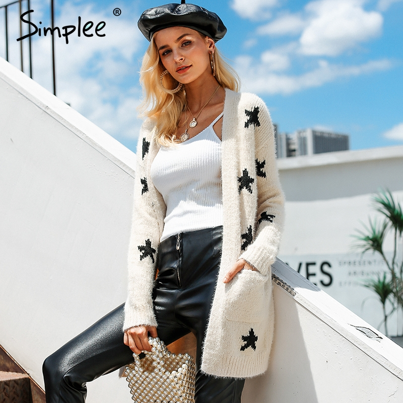Simplee Pockets knitted long cardigan female Casual loose autumn coat 2018 Winter sexy white stars women outwear