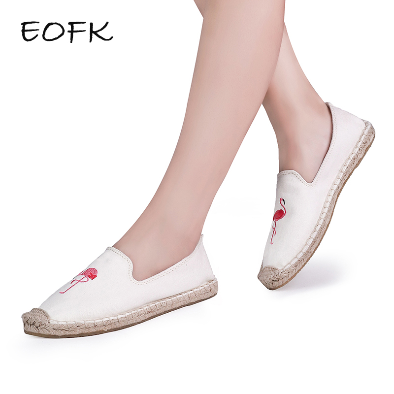 EOFK 2018 Women Flamingo Shoes Canvas Shoes Woman Causal Shoes Comfortable Slip On Fabric Flats Embroider Shoes Women
