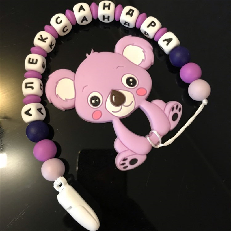Купить с кэшбэком Chenkai 10PCS BPA Free Silicone Koala Teether DIY Baby Nursing Chewing Mommy Jewelry Animal Grib Toy Craft Pastel Color