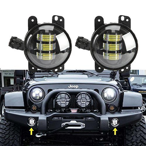 2PCS 4 LED Fog Lights Headlights 4 inch Round 30W Front Bumper LED Fog Light Assembly For Wrangler CJ TJ JK 07-15 ...