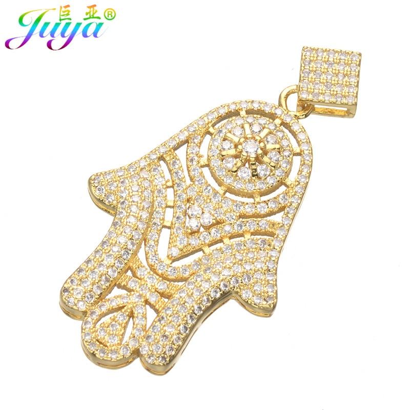 Juya DIY Gull / Sølvfarge Hamsa Fatima-kontakt Anheng for naturlige - Mote smykker - Bilde 4