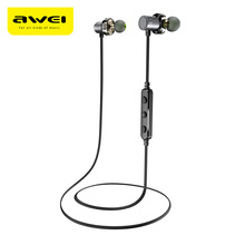 AWEI X670BL Bluetooth Headset Dual Driver Wireless Headphones Bluetooth Earphones With Mic Super Bass Earbuds Stereo Sound(China)