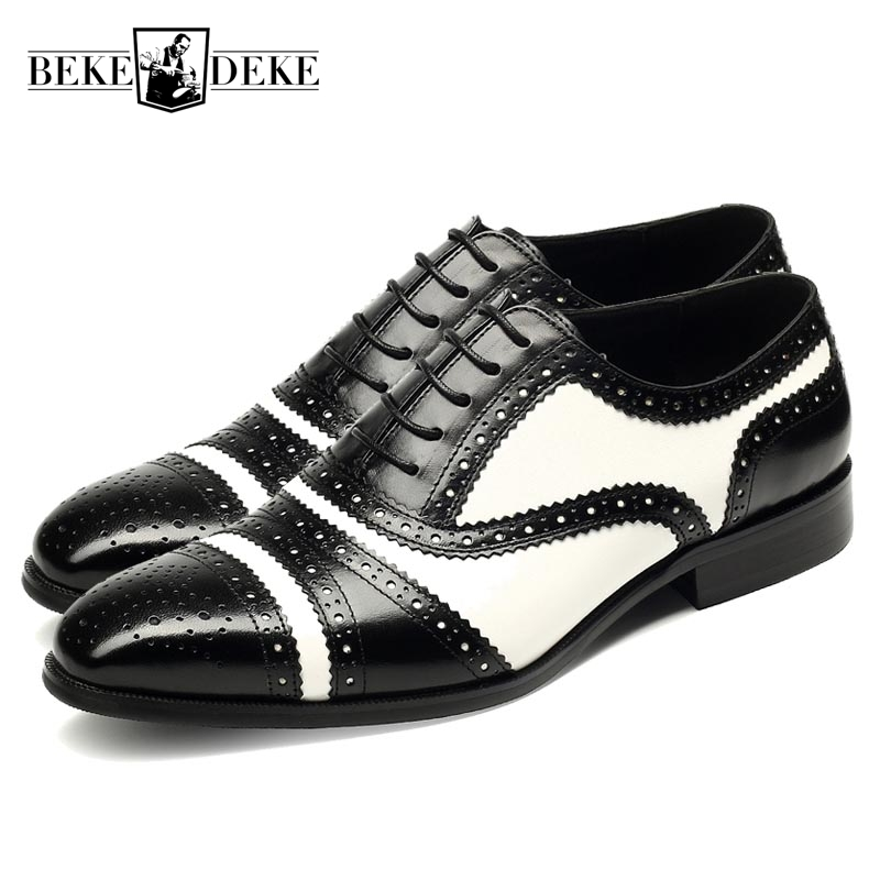 Wing Tip Brogue Shoes Mens Genuine Leather Cow Lace Up Male Pointed Toe Low Heel Formal Shoes Black White Zapatos De Hombre купить