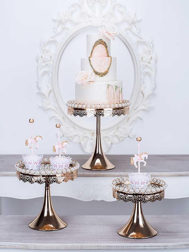 Ins ถาดผลไม้เค้กตารางขนมหวานจอแสดงผลเครื่องประดับโต๊ะเครื่องสำอางเครื่องประดับงานแต่งงาน