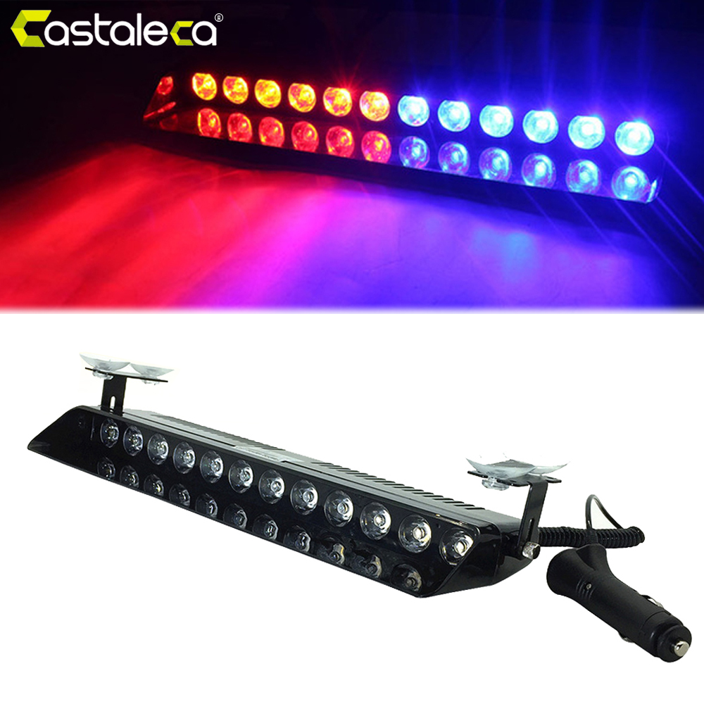 castaleca Car Led Emergency Strobe Flash Warning Light 12V 12 Led 12W Police Flashing Lights Red Blue Amber White Car styling cyan soil bay car truck emergency strobe flash warning light 12v 9 led flashing police 9w lamp sucker red blue white amber