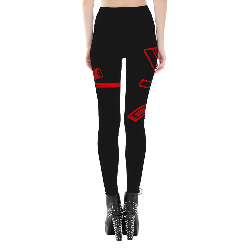 Plus Size S-4XL Women Leggings Sexy Workout Large Size Red Pistol Printed Polyester Jeggings Fashion Elastic force Leggings
