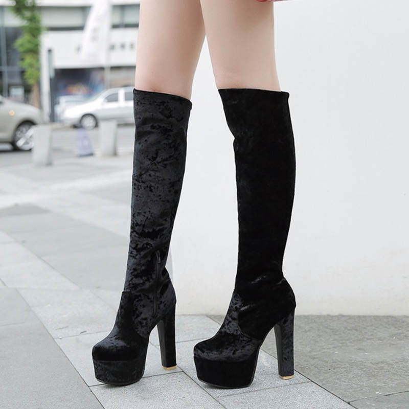 Fashion Embossed microfiber Leather Women Mid calf Boots Toe Western Cowboy Boots Chunky High Heels Motorcycle