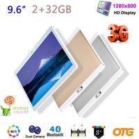 2 GB + 32 GB QUADCORE TABLET PC 9.6 IPS אנדרואיד 6.0 SIM הכפול 3 גרם OTG GPS WIFI BT FM DE27 זרוק משלוח