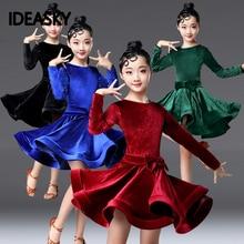 Вельветовое платье с длинными рукавами для латинских танцев для детей, для девочек, для соревнований, бальных танцев, для детей, для танго, сальсы, танцевальная одежда, одежда для занятий ча-ча