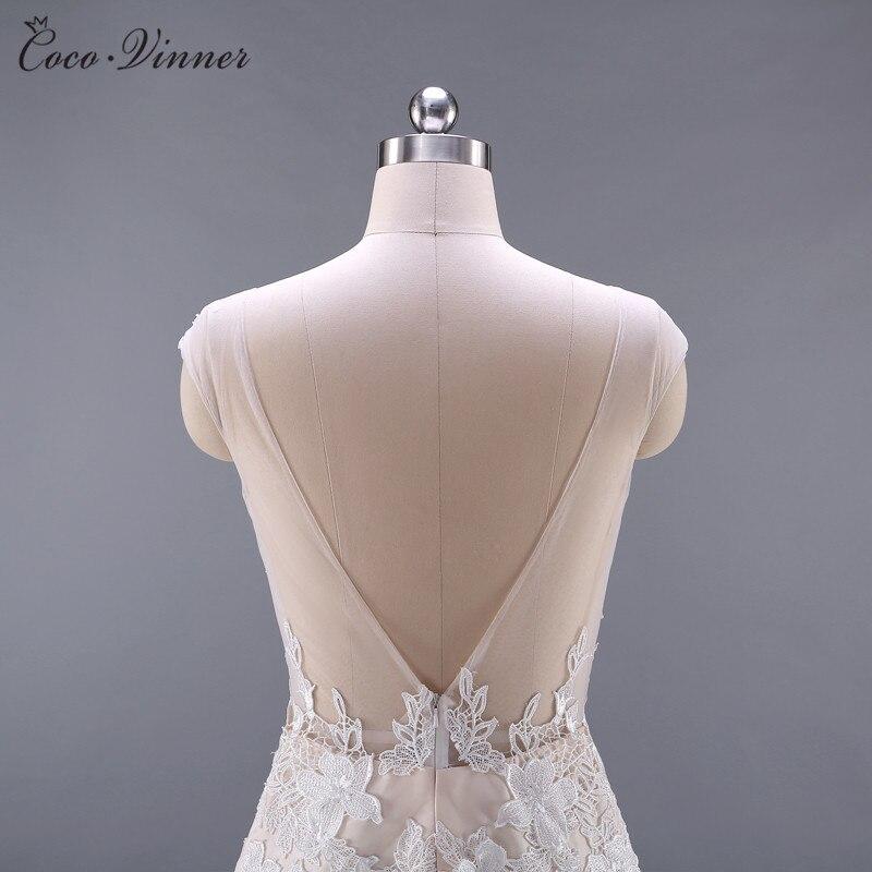 Kwaliteit Vestido De Noiva Backless Bloemen Applicaties Sexy Trouwjurk 2019 Champagne Kleur Mermaid Trouwjurken W0045 - 5