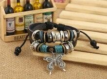Butterfly Charm Genuine Black Leather Bracelet
